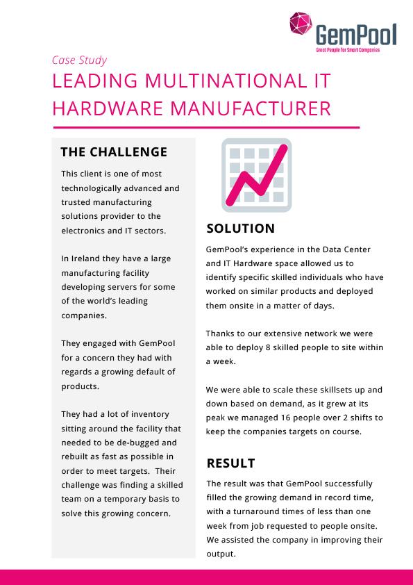 Leading multinational IT Hardware Manufacturer
