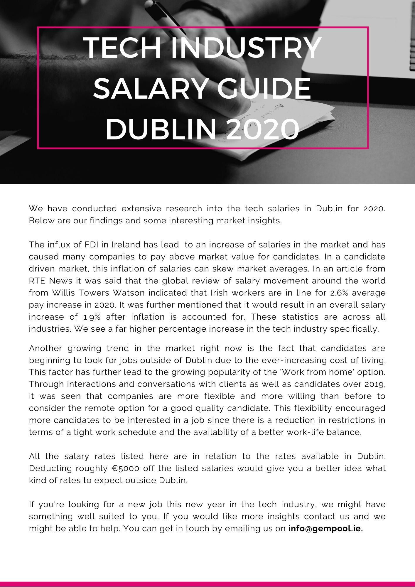 Tech Industry Salary Guide Dublin 2020 by GemPool