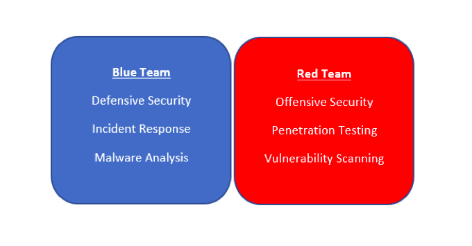 Blue and red team in cyber security